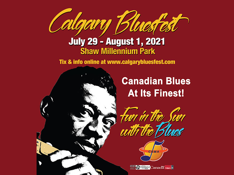 A poster for the 2021 version of Calgary Bluesfest