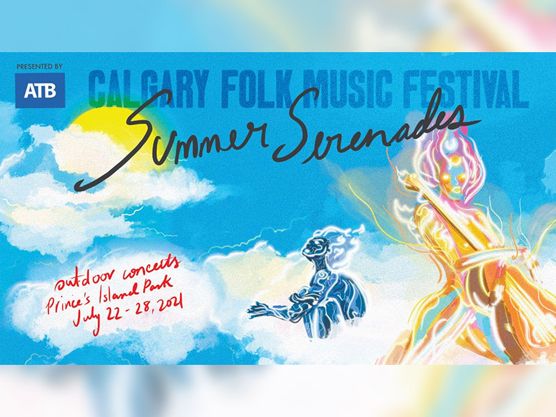 A graphic for Summer Serenades with the Calgary Folk Music Festival