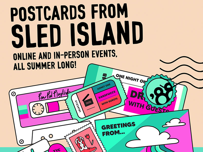 A graphic for Postcards From Sled Island