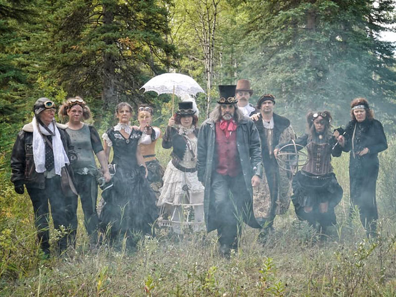 Cast members of Time Island in period clothes