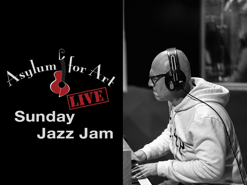 A graphic for the Sunday Jazz Jam at Asylum for Art