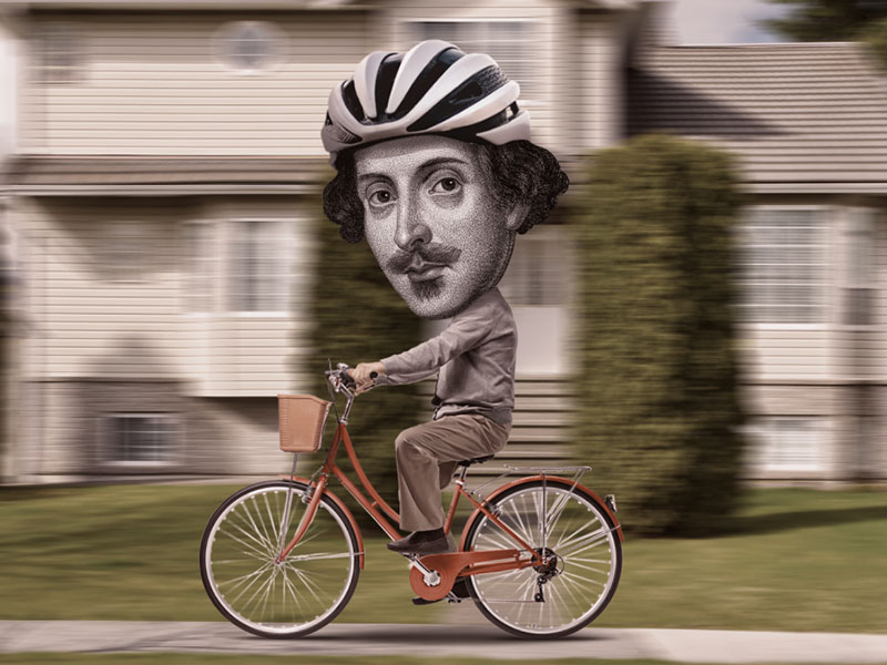 An image depicting Shakespeare on a bicycle