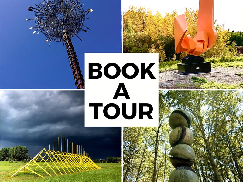 A graphic promoting how to book at tour at the the Kiyooka Ohe Arts Centre