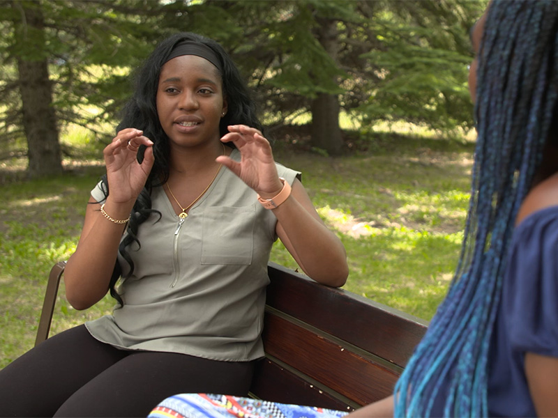 """Adeola """"Tola"""" Adedipe and Adora Nwofor talk poetry and identity on a park bench"""