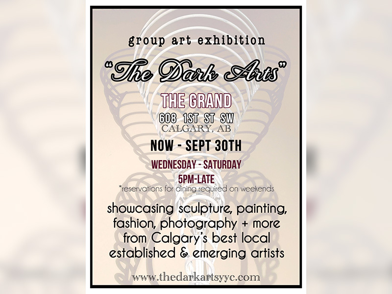 A graphic for The Dark Arts group art exhibition