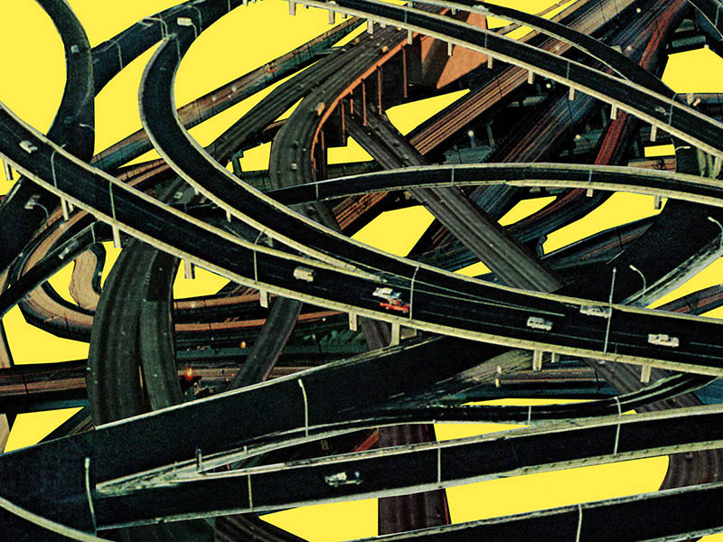 An illustration of highways and cars in a jumble