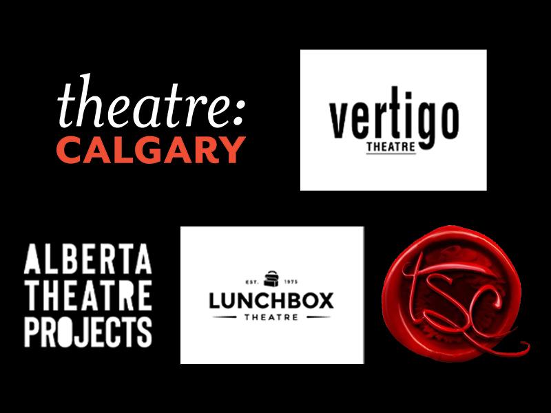 Theatre Calgary, Vertigo Theatre, Alberta Theatre Projects, Lunchbox Theatre, and The Shakespeare Companylogos