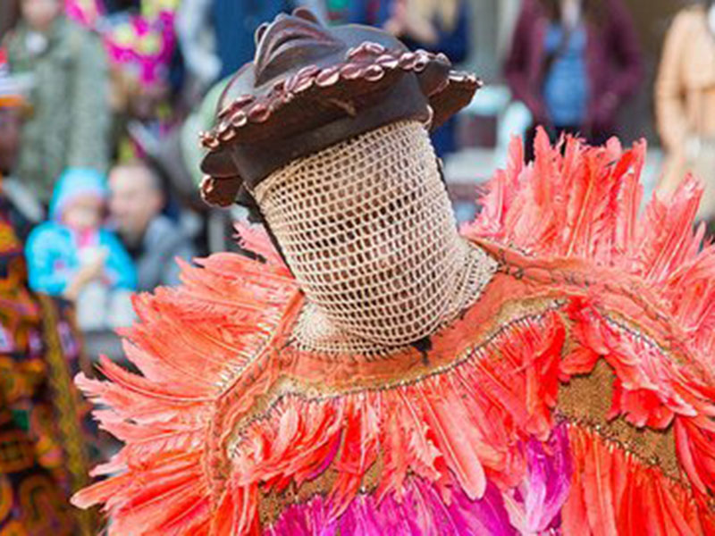 A performer in a mask and bright colourful feathers