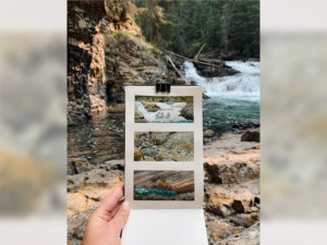 A photo of sketches made at the Johnston Canyon Upper Water Falls by Jessica Semenoff